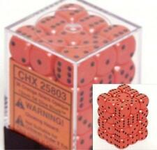 Chessex Dice d6 Sets Opaque Orange with Black 36 12mm Six Sided Die CHX 25803