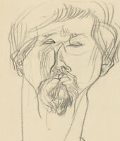 A. Mendes - 20th Century Charcoal Drawing, Head Study