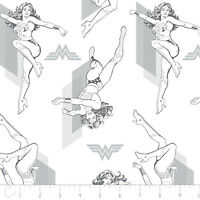 """Warner Brothers Wonder Woman Outline Grey Camelot 100% cotton Fabric Remnant 21"""""""