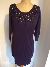 Lovely Dorothy Perkins Embellished Necklace style Tunic 50s Jumper Dress Size 12