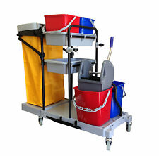 Industrial Housekeeping Janitorial Cart 4 Buckets 1 Wringer 1 Vinyl Bag AF08173