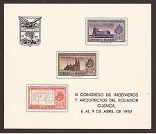 Ecuador Hojita block 4 1957 III Congreso Ingenieros y Arquitectos Cuenca   MNH