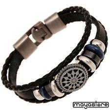 Bracelet en cuir surfeur étoile noir Bracelet Chaîne Bracelet tressé cuir noir