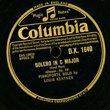"""LOUIS KENTNER -Piano-  """"Chopin""""  Bolero in C major, Op. 19  1&2    78rpm   G2825"""