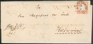 DR Wechselbrief mit Mi.-Nr.3, 1x Hildesheim innerorts,1x nach Wendhausen 1872