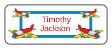 30 personalized airplane name tag stickers, tags, school supply labels