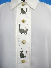 Cats Blouse White Womens 12 Button Down Long Sleeve Embroidered Polyester Career