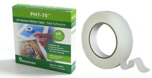PH7-70 Acid Free Conservation White Mount Fixing and Hinging tape 25mmx66m