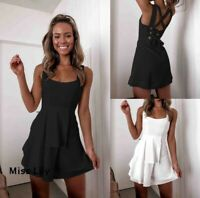 Womens Stretch Baggy Party Tops Holiday Loose Short UK Bodycon Mini Dresses