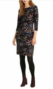 Phase Eight Midnight Garden Black Floral Stretch Pencil Dress UK 12 EU 40 US 8