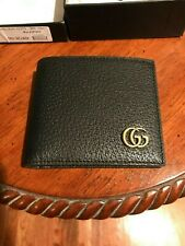 NEW Gucci Men's Black Leather Marmont Bi-Fold Wallet 100% Authentic FREE SHIP!!
