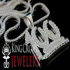 10K White Gold Silver 100 Number Emoji Character Lab Diamond Pendant Men Charm