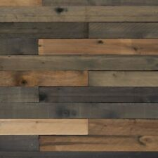 Weathered Wood Board 1/2 in. x 4 x 4 ft. Reclaimed Rustic Barn Wall Panel 8-Pcs.