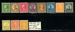 US Scott # 632, 633 - MH, 634, 635 - 640 - MNH, 641 - MH, 642 - MNH - CV=$26.45