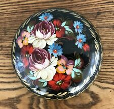 Russian Hand Painted Black Lacquer Trinket Box