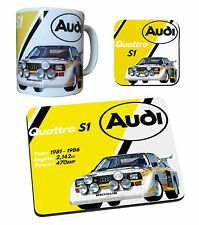 Audi Quattro Rally Car Gift Collection - Mug, Coaster & Mouse Mat