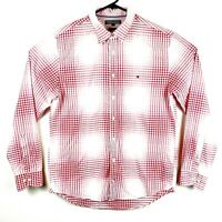 Tommy Hilfiger Men's Large White Red New York Fit Check Plaid Long Sleeve Shirt