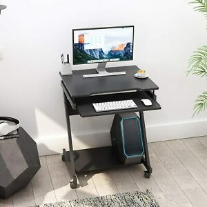 Z-Shaped Computer Desk with Keyboard Shelf, Laptop Study Table for Home Office