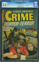 Fight Against Crime 20 CGC 2.5 SEVERED HEAD 1954 Horror & Terror Story Comics G+