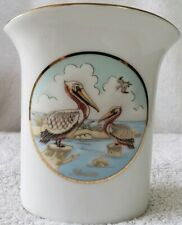 Lefton signed Geo. Z. 1987 Porcelain Toothbrush Caddy FLORIDA w/pelicans.