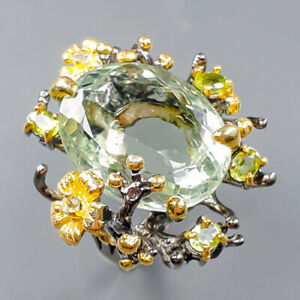 24ct+ Fine Art Green Amethyst Ring Silver 925 Sterling  Size 8.5 /R164398