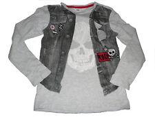 H & M tolles Langarm Shirt Gr. 122 / 128 grau mit coolem Druckmotiv !!