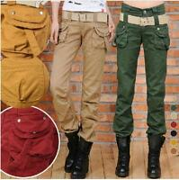Hot Sale Ladies Casual Loose Jeans Cool Gilrs Belts Womens Trousers Pockets Pant