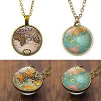 Mode Globus Sweater Chain Erde Glas Ball World Map Halskette Anhänger Luminous