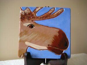Marblehead Tileworks Pottery MOOSE Trivet Tile CABIN RUSTIC MOTIF