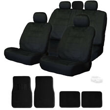 PREMIUM GRADE BLACK VELOUR FABRIC CAR SEAT COVERS AND MATS SET FOR FORD