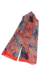 Coral Orange Blue Chiffon Scarf Peacock Feather Colourful Feathers Scarves New