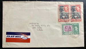 1946 Belize British Honduras Airmail Cover To New York Usa