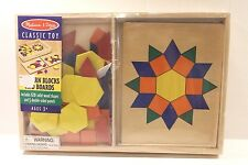 Melissa & Doug Wooden Pattern Blocks and Boards Set Educational Toy Ages 3+ NEW