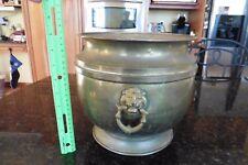 XL Brass Pot Lion head ring handles hand hammered flower planter urn vase bowl
