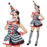 Ladies Harlequin Jester Ring Mistress Costume Halloween Circus Clown Fancy Dress
