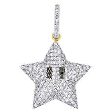 "10K Yellow Gold Black Diamond Puff Dome Mini Star Pendant 1"" Unisex Charm 1/3 CT"