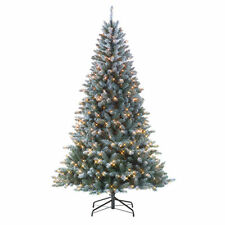 6' Tall Colorado Flocked Pine Christmas Tree 500 Prelit Clear Lights Stand XmUB