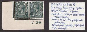 1924 Block 4d SG 424 N39(3) Very deep grey-green Mint CONTROL PAIR V34 Harrison
