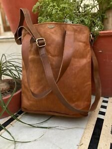 """14"""" Women Vintage Waxed Shopping Leather Tote Shoulder Bag Handmade Purse"""