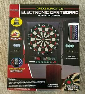 Cricketmaxx 1.0 Electronic Dartboard Integrated Wood Cabinet Heckler Feature