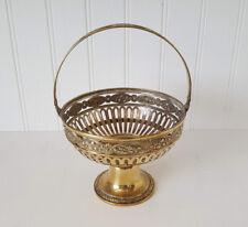 Art Nouveau WMF brass fruit basket, repoussé fruit bowl with swing handle, dish