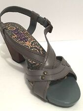 Clarks Indigo Shoes 6.5M Women Gray Blue Leather Sandals Strappy Slingback Heels