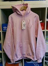 Distressed ripped baby pink hoodie by 9DEUCE  sweatshirt sweat shirt XL