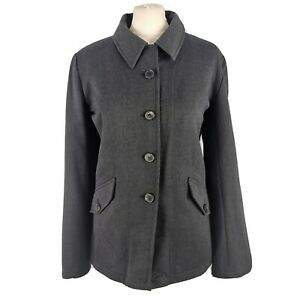 NEW TOAST £165 Size 14 Charcoal Grey Button Up Wool Fitted Jacket Casual Pockets