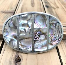 Southwest Oval Belt Buckle Vintage Abalone Alpaca Silver Mexico Mexican Inlay