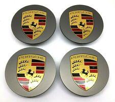 New Set Genuine Porsche Platinum Satin Matt Alloy Wheel Centre Caps 00004460728
