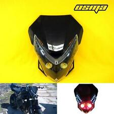 New Universal Enduro Cross Motorcycle Streetfighter Black LED Headlight Fairing