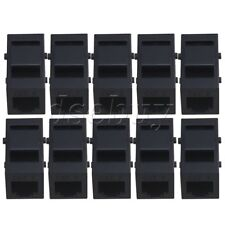 10pcs Black Cat3 Phone Line Coupler Insert Module Keystone Latch RJ-11