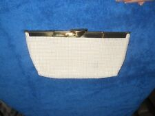 VINTAGE WHITING & DAVIS WHITE BEADED MESH CLUTCH PURSE