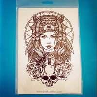 Big Temporary Waterproof Tattoo War Greek Hellenic Goddess Warrior Skull Roses